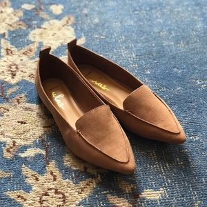NEW Lulus Emmy Camel Suede Pointed Loafers Tan 9